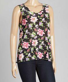 Look at this #zulilyfind! Star Vixen Black & Pink Floral Tank - Plus by Star Vixen #zulilyfinds