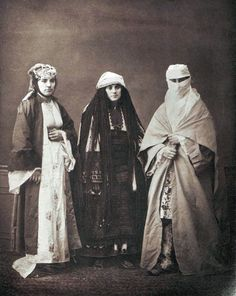 """Three female clothings one could find in Ottoman Thessaloniki : Jewish, Bulgarian, Muslim. 1873 Full caption: """" Studio portrait of models wearing tradtional clothing from Salonika, Ottoman Empire."""
