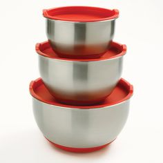 Norpro 10446 3-Piece Stainless Steel Grip Bowls with Lids ** See this great image @ : Baking mixing bowls
