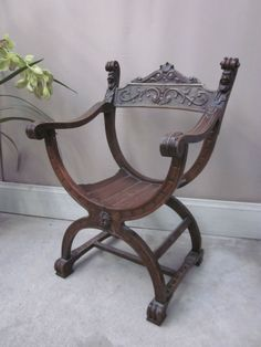Antique Renaissance Carved Oak Throne Curule Chair W Face Curule C1890s