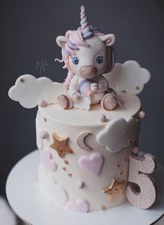 Fancy Cakes, Cute Cakes, Fondant Cakes, Cupcake Cakes, Bolo Fack, Beautiful Cake Designs, Cakes Plus, Beautiful Birthday Cakes, Baby Birthday Cakes