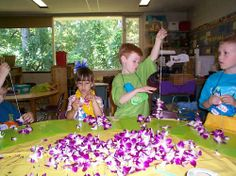 Lei Making - Fun activity for your luau or Hawaii theme party!
