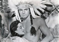 HIAWATHA (1952) - Vince Edwards as 'Chief Hiawatha' (pictured) - Yvette Dugay (pictured) - Keith Larsen - Morris Ankrum - Directed by Kurt Neumann - Monogram Pictures - Publicity Still.