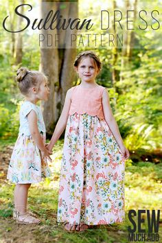 Sullivan Dress PDF Pattern - features a darling scalloped bodice, sleeves or sleeveless, and knee or maxi lengths!