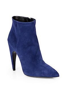 Prada - Suede Point-Toe Ankle Boots