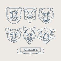 Animals linear art icons Vector illustration EPS10