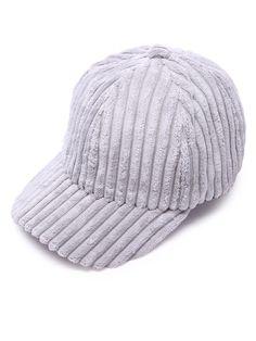 #AdoreWe #SheIn Hats& Gloves - SheIn Light Grey Ribbed Velvet Warm Baseball Cap - AdoreWe.com