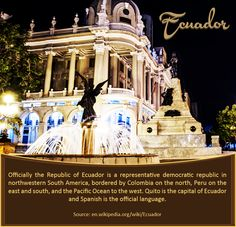 Ecuador :  Officially the #Republic of #Ecuador is a representative #democratic republic in northwestern #South #America, bordered by #Colombia on the #north, #Peru on the #east and south, and the #Pacific #Ocean to the #west. #Quito is the #capital of Ecuador and #Spanish is the official #language.  |   Source: en.wikipedia.org/wiki/Ecuador |   #ecuadorcountry #southamerica #Travel #worldairfares #travelagentuk |   For #flightbookings : https://www.worldairfares.co.uk/