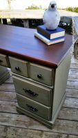 Green Painted Desk Annie Sloan Chateau Gray and Dark Wax.  GF Anitique Walnut Gel Stain