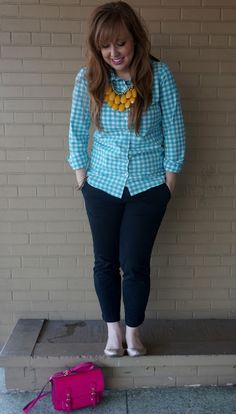 #fallfashion #yellow #turquoise #gingham #jcrew #statementnecklace opal-and-violet.blogspot.com