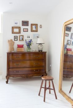 Edwardian House by Rebecca Hayes Interiors, interior, home, vintage furniture, huge mirror, frame wall, gallery