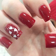 Valentines Day nail art OPI red hearts