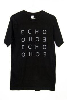 Men's T-shirt Echo Black White Gray Lettering Minimalist Graphic Modern Stylish Cotton