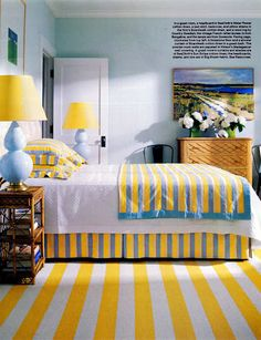 repeat patterns - yellow stripes. bright, cheery, and fun! great for guest room