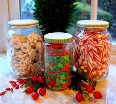 pickle and spaghetti sauce jars, paint lids, glue ribbon