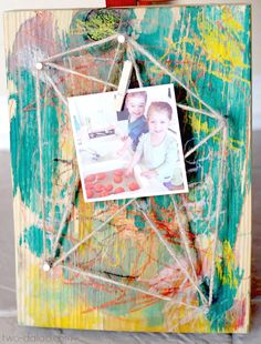 Even the youngest artists can use this crayon resist technique to create a unique kid-made gift - a vibrant string-art photo display!