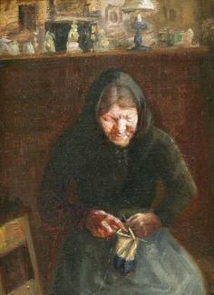 Anna Ancher (1859-1935): 'An old Woman knitting'