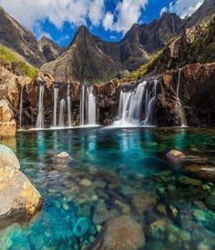(Isle of Skye fairy pool) Celtic mythology emerged from Ireland, Scotland, and Wales. The geography of all three of these places include being surrounded by water, with a lot of pools and lakes such as the one seen above.