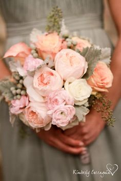 Pretty Pink, Peach and Grey Bouquet