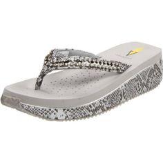 Volatile Women`s Valerie 2 Thong Sandal,Silver,$44.99