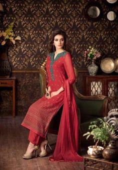 #Sahiba #Nour Georgette Chiffon Salwar Kameez Dupatta 202 #Red