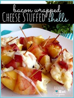 bacon shells Bacon Wrapped Cheese Stuffed Shells Recipe