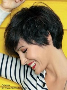 Versatile short haircut with layers and texture. Black hair.