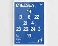 Chelsea FC 2014-2015 Football team squad typographics print posters