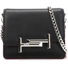 tods-double-t-mini-clutch ($625) ❤ liked on Polyvore featuring bags, handbags, clutches, chain strap purse, chain strap handbags, mini leather handbags, mini pochette and tod's handbag