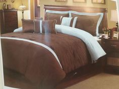 Queen Comforter Set Turquoise Black Quilted 7 pc Shams Skirt Pillows  New #Interiorsbydesign #Contemporary