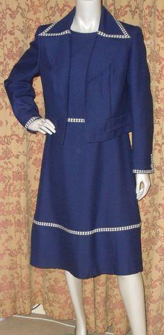 Vintage1970s WINDSMOOR dress and matching jacket navy nautical diamond trim secretary mod suit (4101) by AuntyDollsWardrobe on Etsy