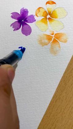 Watercolor Tutorials, Watercolor Ideas, Watercolor Techniques, Art Tutorials, Easy Painting Projects, Beginner Painting, Painting Tips, Watercolor Brush Pen, Watercolor Cards