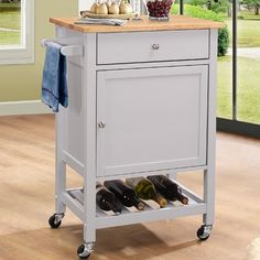 New Chelmsford Kitchen Cart with Wood Top by Red Barrel Studio kitchen dining furniture sale. offers on top store Furniture Sale, Living Room Furniture, Storage Drawers, Storage Spaces, Kitchen Island Cart, Kitchen Islands, Kitchen Trolley, Kitchen Dining, Wine Bottle Rack