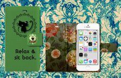 ハンドメイドマーケット minne(ミンネ)  【即納】手帳型ケースiPhone6/6s【CM猫◆グリーン】