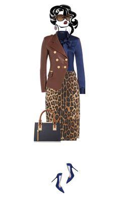 Office outfit: Navy - Brown - Animal Print by downtownblues on Polyvore #officewear  #blazer  #Balmain #animalprint  #pencilskirt