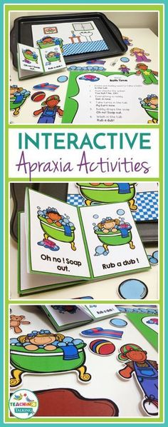 Try these cute bath time Apraxia activities for kids! This interactive game includes a story board, drill sheet, and character cutouts so your students learn while they play in speech therapy.