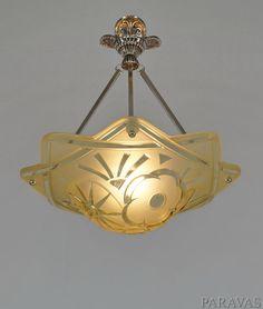 DEGUE : FRENCH 1930 ART DECO CHANDELIER ... pendant lustre lamp lampe muller era #ArtDeco #Degu