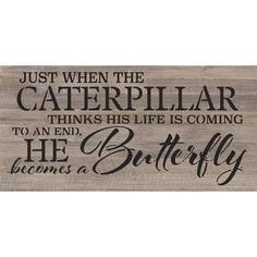 Artistic Reflections 'Just When a Caterpillar' Textual Art on Wood in Gray