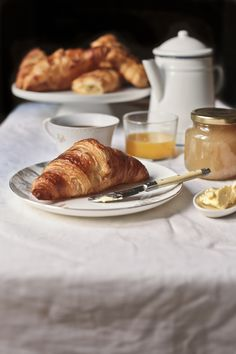 croissant, orange juice and hot chocolate delight