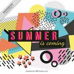 """Fundo abstrato colorido com o texto """"verão está vindo"""""""