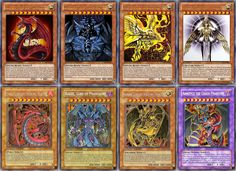 The Egyptian God Cards including Halakti, The Creator of Light & The 3 Demon Cards from Yugi-Oh & Yugi-Oh GX.