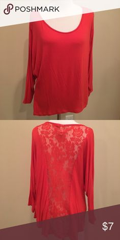 Red Top W/ Lace Back Red top with lacy back Only Sky Tops Tees - Long Sleeve