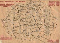 The administrative map of Great Romania, 1920 (MNIR) Historical Maps, Beautiful, Cartography, Geography, Cards