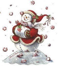 Peppermint Snowman Xmas HEAT PRESS TRANSFER for Shirt Tote Sweatshirt Fabric 101