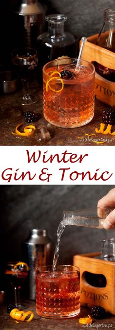 The Winter Gin & Tonic is a twist on the classic G&T. A dash of elderflower liqueur, sloe gin & Campari team up with gin & tonic. Cocktails Winter Gin & Tonic with Elderflower & Sloe Winter Cocktails, Christmas Cocktails, Christmas Gin, Fun Cocktails, Drinks Alcoholicas, Cocktail Drinks, Yummy Drinks, Gin Cocktail Recipes, Sloe Gin Cocktails