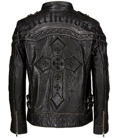 Affliction Black Premium Gear Up Leather Jacket