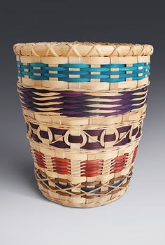 Start with a wastepaper basket woven with reed on a wire mold and featuring many different weaving designs - a Weaving Designs, Weaving Projects, Rattan Basket, Wicker, Basket Weaving Patterns, Bamboo Crafts, Nature Crafts, Basket Ideas, African Art