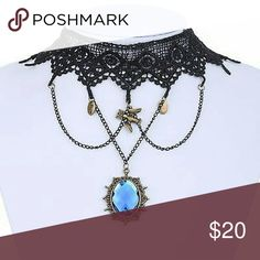 Gothic / Victorian Style Lace Choker Delicate black lace choker with blue pendant and charms perfect finishing touch for your Victorian / Steampunk /Gothic cosplay or just a neat addition to your wardrobe. Jewelry Necklaces