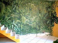déco intérieur jungle | Fresque en trompe-l'oeil réalisée pour un salon | Fresques en trompe ...