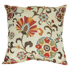 Pillow with a suzani-inspired floral motif.  Product: PillowConstruction Material: Polyester cover and recycled ...